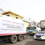 ISO Tank berisi Liquid Oksigen, CSR dari Sinar Mas Group saat tiba di Mapolda Sumsel, Senin (12/7)