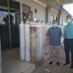 Anggota DPRD Sumsel Fraksi PDIP, Santo Aziz saat meninjau langsung ketersediaan oksigen di RS Hermina OPI Jakabaring, Banyuasin, Senin (26/7)