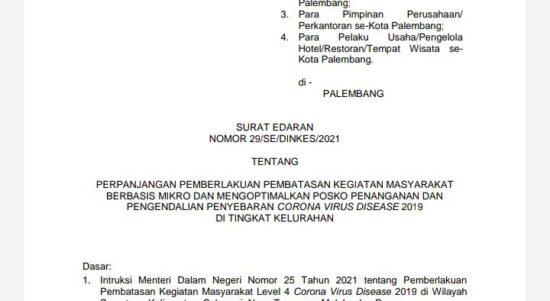 Surat Edaran Walikota Palembang Nomor 29/SE/DINKES/2021 tentang Perpanjangan PPKM Berbasis Mikro