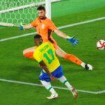 Malcom (17), pemain pengganti asal Brasil berhasil mencetak goal di menit ke-108 babak final sepak bola putra Olimpiade Tokyo 2020, Sabtu (7/8) malam