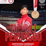Sprinter Saptoyoga Purnomo meraih Perunggu di Paralimpiade Tokyo 2020, Jumat (27/8) sore (sumber foto: NPC Indonesia)