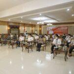 Bupati Asahan dan forkopimda Kabupaten Asahan saat mengikuti zikir dan doa kebangsaan 76 tahun Indonesia merdeka yang digelar secara virtual, Minggu (1/8) malam