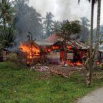 Kondisi rumah Aminah (55) saat terbakar di kabupaten Bireuen Aceh