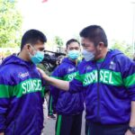 Herman Deru ketika meresmikan sekaligus melepas kontingen Sumsel yang akan berlaga di PON XX Papua 1 di Plaza Stadion Gelora Sriwijaya Jakabaring, Palembang, Rabu (15/9)
