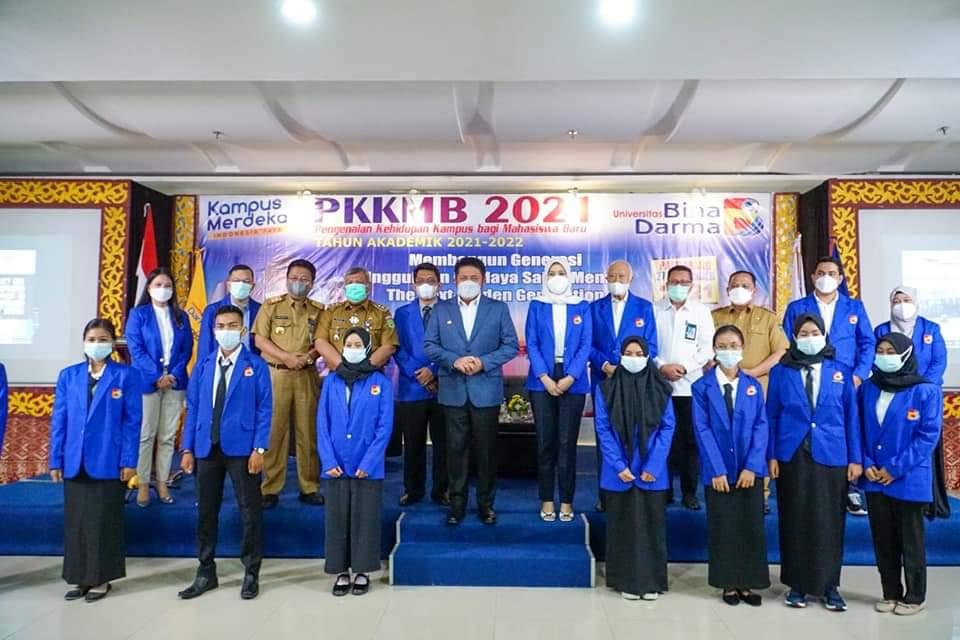 Pengenalan Kehidupan Kampus bagi Mahasiswa Baru (PKKMB) Tahun Akademik 2021-2022 Universitas Bina Darma (UBD) resmi dimulai, Senin (27/9)