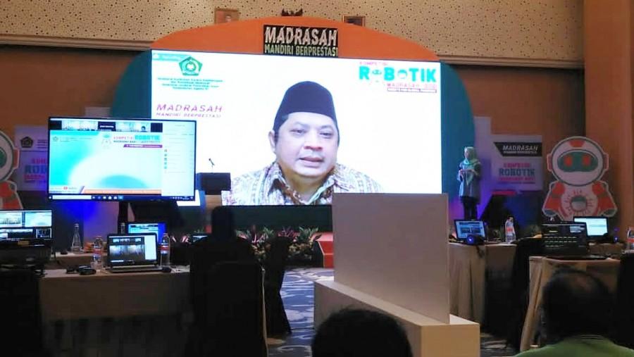 Dirjen Pendidikan Islam, Muhammad Ali Ramdhani membuka KRM 2021 secara daring