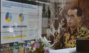 Menteri Perhubungan Budi Karya Sumadi saat rakor persiapan antisipasi libur natal dan tahun baru 2022, Selasa (26/10)