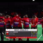 Tim bulu tangkis putra Indonesia bersama pelatih dan ofisial selebrasi usai memenangkan 3-0 atas Cina pada final Piala Thomas 2020, Minggu (17/10) (foto: tangkapan layar)