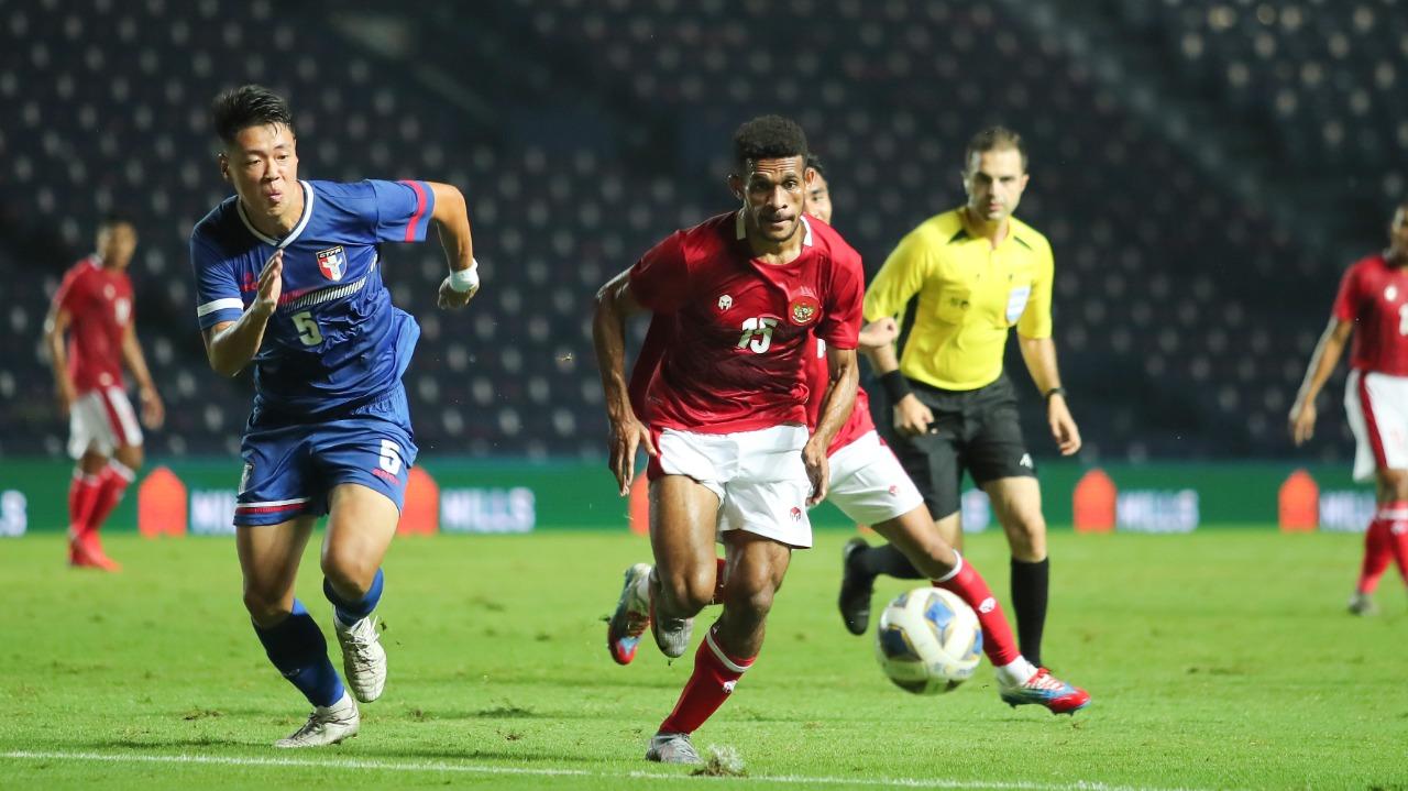 Timnas Indonesia sukses menang 2-1 atas Taiwan pada laga play off kualifikasi Piala Asia 2023 di Stadion Chang Arena Buriram, Thailand, Kamis (7/10)