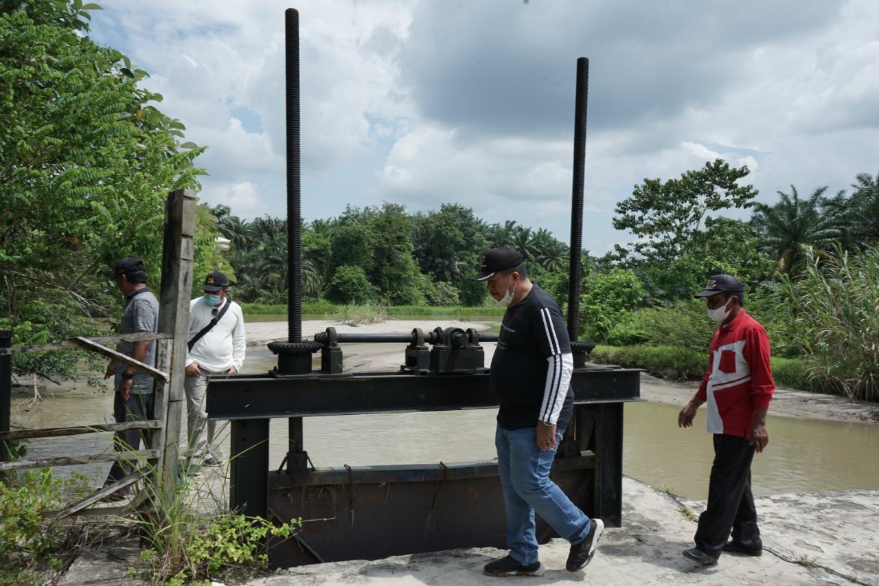Wakil Bupati Asahan, Taufik Zainal Abidin SSos MSi saat meninjau pembuatan tanggul jebol dan normalisasi sungai di di Dam Alam Bali, Desa Silau Maraja, Kecamatan Setia Janji, Jumat (01/10)