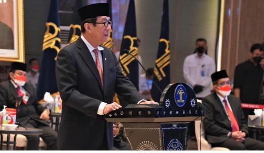 Menteri Hukum dan HAM, Yasonna H Laoly saat sambutan pada Doa Kumham untuk Negeri, Jumat (1/10)