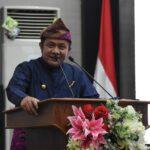 Gubernur Sumsel, H Herman Deru saat sambutan di HUT ke-76 Kabupaten OKI pada rapat paripurna DPRD OKI, Senin (11/10)