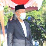 Wakil Bupati Ogan Komering Ilir, HM Dja'far Shodiq saat upacara Hari Santri Nasional (HSN) 2021